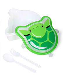 Lunch Box With Spoon & Fork Turtle Shape - Green
