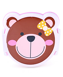 Lunch Box With Spoon Bear Design - Brown Purple