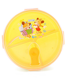 Circular Lunch Box With Spoon Animal Print - Yellow White
