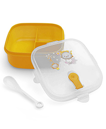 Square Shaped Lunch Box With Spoon - Yellow