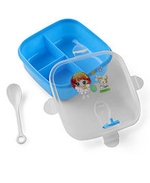 Square Shaped Lunch Box With Spoon - Blue