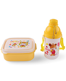 Lunch Box With Water Bottle Spoon & Fork Yellow - 360 Ml