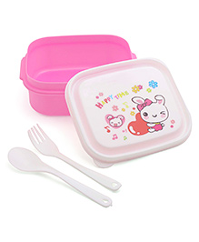Square Lunch Box With Spoon & Fork - Pink