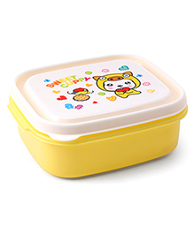 Printed Lunch Box With Fork & Spoon - Yellow White