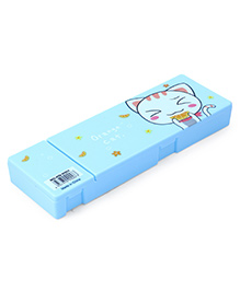 Pencil Box With Small Compartment Kitty Print - Light Blue