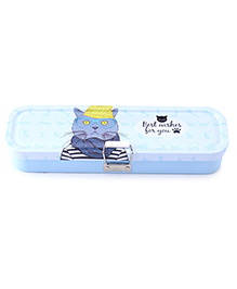 Pencil Box With Removable Tray Kitty Print - Blue