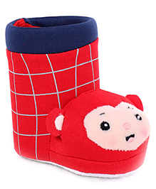 Shoe Shape Pencil Stand With Cartoon Motif Checks Print - Red