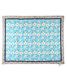 Yogis Organic Cotton Baby Quilt Floral Print - Sky Blue