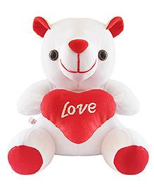 Ultra Teddy Bear Soft Toy White Red - 17 Cm