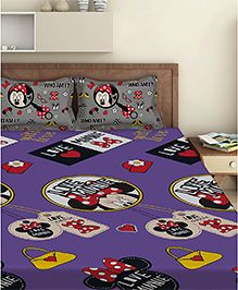 Disney Minnie Mouse Double Bed Sheet With 2 Pillow Covers - Purple