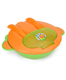 1st Step Feeding Bowl With Fork And Spoon - Orange Green