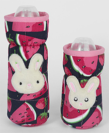 1st Step Bottle Cover Pack Of 2 Rabbit Motif Pink & Navy - Fits Upto 240 Ml & 120 Ml Each
