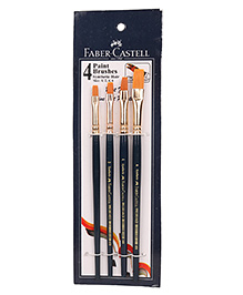 Faber Castell Synthetic Hair Flat Assorted Paint Brush Set Of 4 - Blue