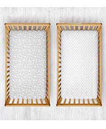 Rabitat Organic Cotton Cradle Sheet Animal & Tree Print Pack Of 2 - White Grey