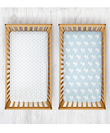 Rabitat Organic Cotton Cradle Sheet Whale & Deer Print Pack Of 2 - White Blue