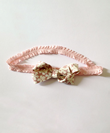 Akinos Kids Floral Printed Bow Frill Lace Headband - Light Pink