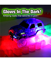 Emob Long Flexible And Bendable Glow In The Dark Bridge & Tunnel Track Set With Electronic Police Car - Multi Color