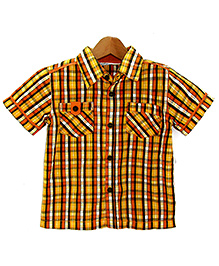 Beebay - Orange Checks Half Sleeves Shirt