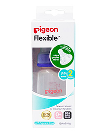 Pigeon Peristaltic Feeding Bottle With 2 Slow Flow Teats Blue - 120 Ml