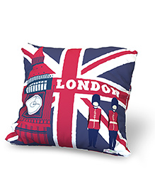 Baby Oodles Cushion With Inner Filler London Print - Blue