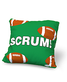 Baby Oodles Cushion With Inner Filler Rugby Print - Green