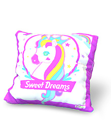 Baby Oodles Cushion With Inner Filler Unicorn Print - Purple