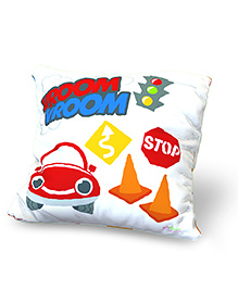 Baby Oodles Cushion With Inner Filler Car Print - White