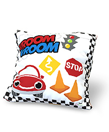 Baby Oodles Cushion With Inner Filler Racer Car Print - Multi Color