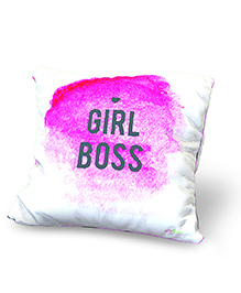 Baby Oodles Cushion With Inner Filler Girl Boss Print - Pink White