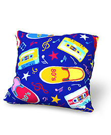 Baby Oodles Cushion With Inner Filler Music & Shoe Print - Blue