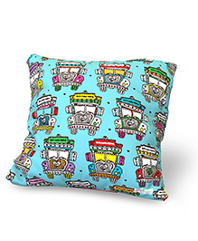 Baby Oodles Cushion With Inner Filler Truck Print - Blue