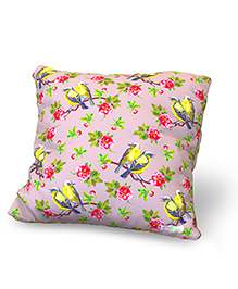 Baby Oodles Cushion With Inner Filler Bird Print - Pink