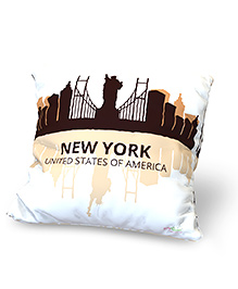 Baby Oodles Cushion With Inner Filler New York Print - White