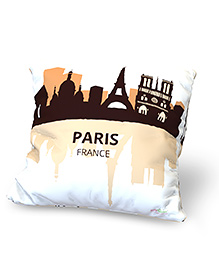 Baby Oodles Cushion With Inner Filler Paris Print - White