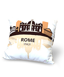 Baby Oodles Cushion With Inner Filler Rome Print - White