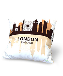 Baby Oodles Cushion With Inner Filler London Print - White