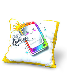 Baby Oodles Cushion With Inner Filler Selfie Queen Print - White