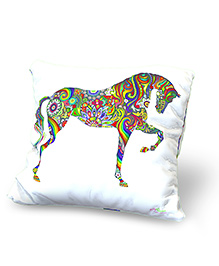 Baby Oodles Cushion With Inner Filler Horse Print - Multi Color