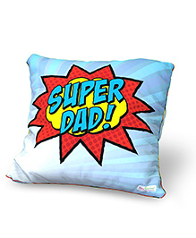 Baby Oodles Cushion With Inner Filler Super Dad Print - Blue