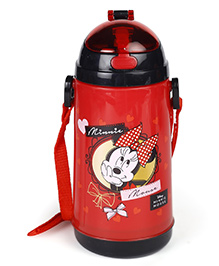 Disney Sipper Water Bottle Minnie Mouse Print Red - 600 Ml