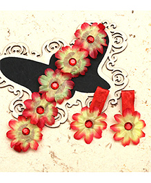 D'Chica Floral Headband & Hair Clip Set - Red