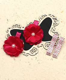 D'Chica Flower & Bow Hair Clip Set - Pink & White