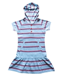 Super Young - Half Sleeves Stripes Dress With Hood
