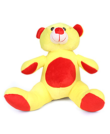 Ultra Teddy Bear Soft Toy Yellow Red - Height 25.4 Cm
