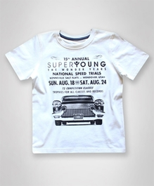 Super Young - Half Sleeves T-Shirt With Car Print