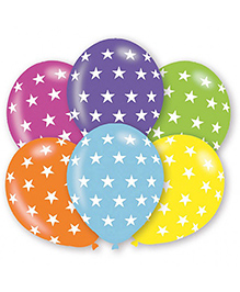 Wanna Party Balloons Star Print Multicolour - Pack Of 10