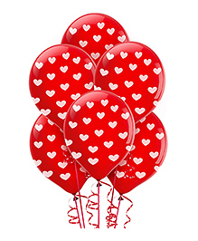 Wanna Party Balloons Heart Print Red - Pack Of 10