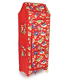 Kids Zone Multi Purpose Folding Almirah Teddy Bear Print - Red Blue