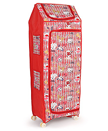 Kids Zone Folding Almirah With Wheels Kitty Print - Red White