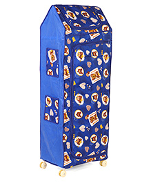 Kids Zone Multipurpose Folding Almirah With Wheels Heart & Bear Print - Blue